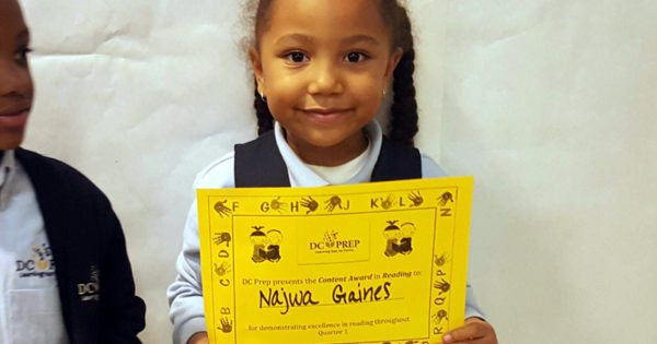 Najwa wins Reading Award at DC Prep.