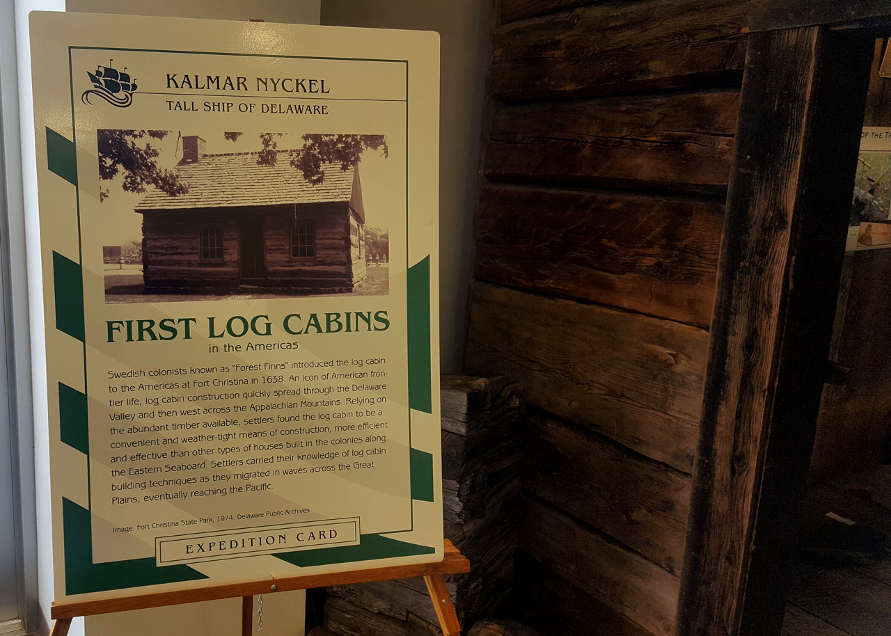 Log cabin - Kalmar Nyckel Museum in Wilmington, Delaware